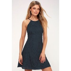 Casey Navy Blue Lace Skater Dress